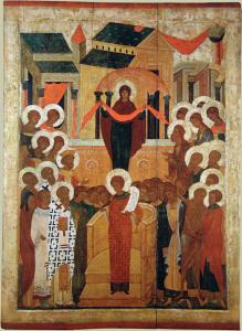 Покров Богоматери. Из Покровского монастыря в Суздале. Конец XV в.